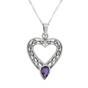 Celtic Silver Heart Pendant with Amethyst colour stone 0683